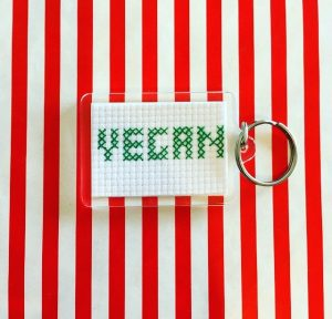 Cross Stitch Vegan Keyring