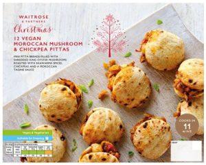 Waitrose Vegan Moroccan Mushroom & Chickpea Pittas 140g
