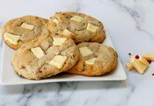 Vegan Raspberry and White Chocolate Cookies